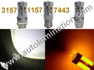 1157 3157 7443  Led Switchback 80 Watt Cree led White Amber Turn Signal Bulbs
