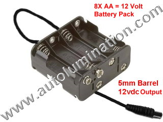 EL Wire 12v 8x AA Battery Power Pack Neon Tubing