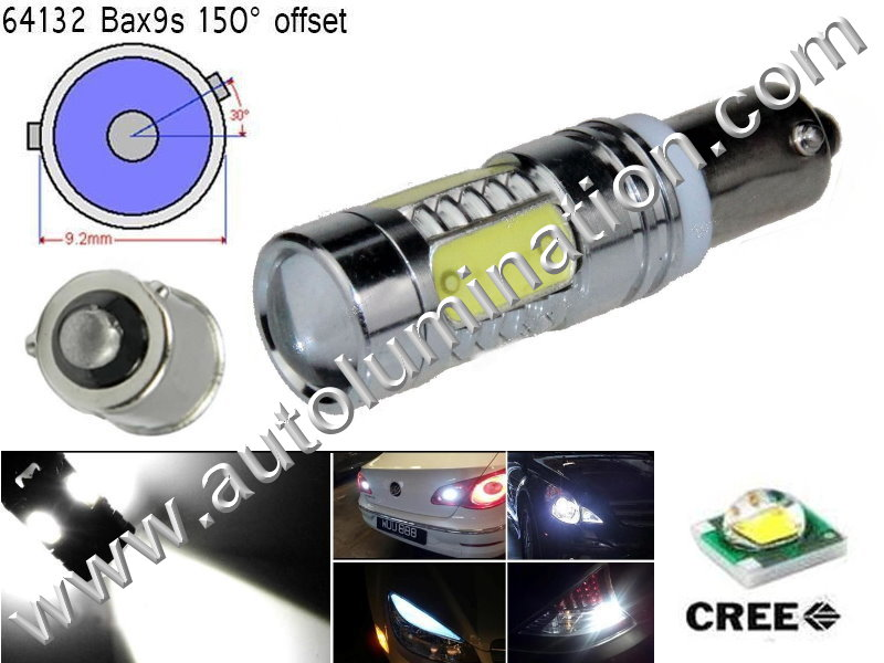 Bax9s Bayonet Base Bulbs =H6W BAX9s 64132 Osram 12082 Phillips 9 Watt Cree Cool White AC  Led Side Marker License Plate Bulb