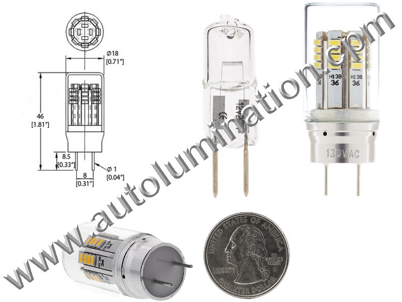 3 watt 2 Pin G8 Bi-Pin Led Bulb Replaces GE WB08X10051 or WB08X10057 Microwave Oven