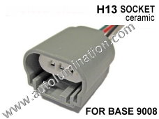 H13 9008 Headlight Ceramic Socket Pigtail Connector Harness Wiring