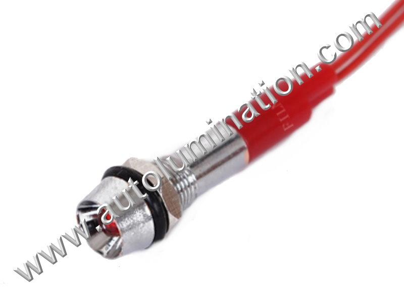 120v 110v Volt Led Screw Through Thru Hole Marine Indicator Light Red