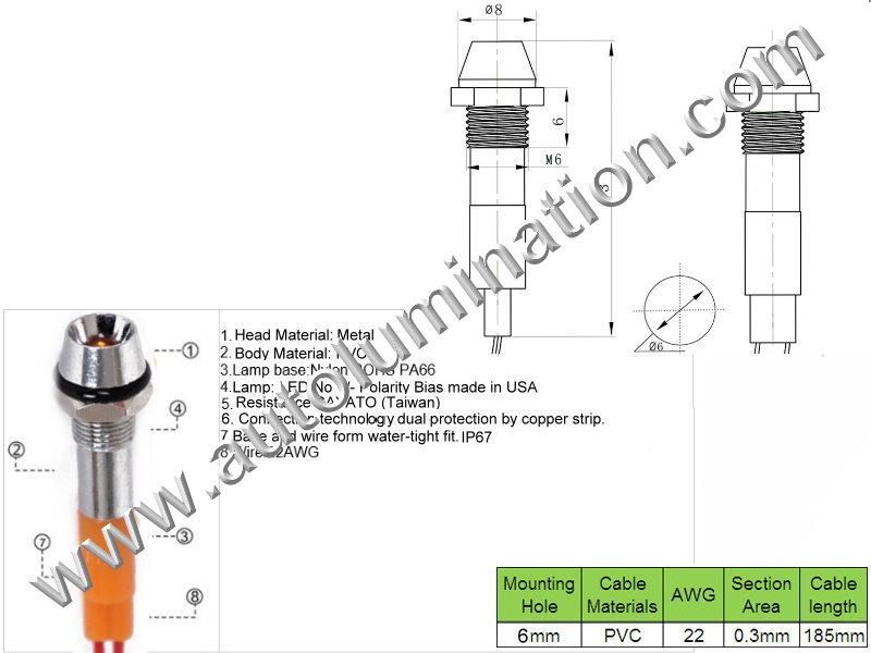 120v 110v Volt Led Screw Through Thru Hole Marine Indicator Light Blue