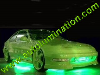 Car with Neon Underbody Light Kit Green
