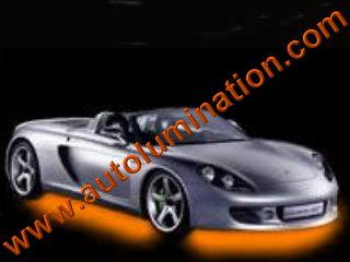 Car with Neon Underbody Light Kit Orange