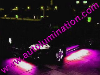 Car with Neon Underbody Light Kit Pink