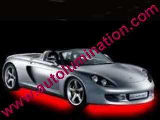 Car with Neon Underbody Light Kit Red