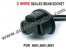 3 Wire Sealed Beam Socket Pigtail Connector Wire