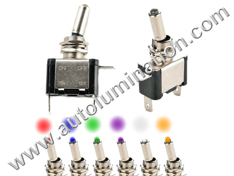 Chrome Led Toggle SPDT Switch