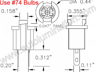 Instrument Panel Light T17 T1 1/2 Wedge Bi Pin Socket Bulb Holder