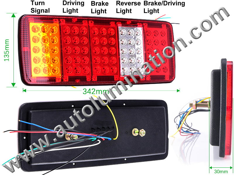 Truck Trailer RV 75led 5 Chamber Combination Tail Light Brake Turn Signal Bracket Mount Led Light Assembly
