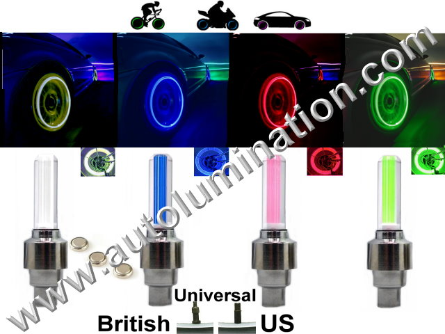 LED Tire Wheel Light Metal Valve Stem